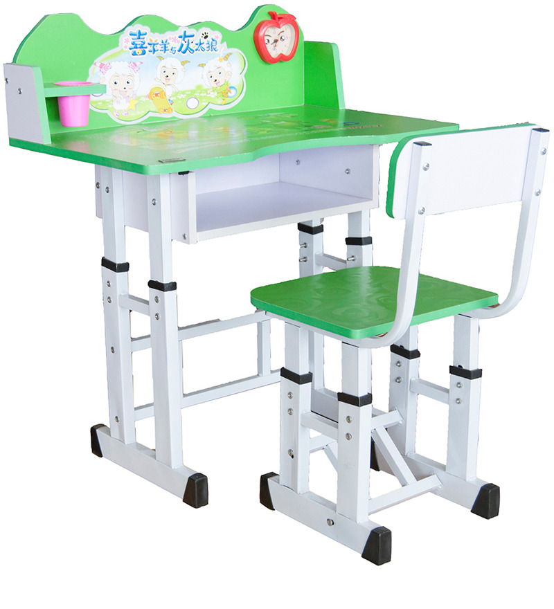 Kids Study Table Chair In Gree